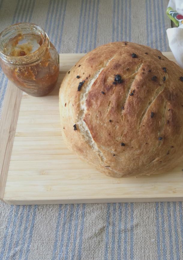 Garlic Artisan Bread with Fig Jam