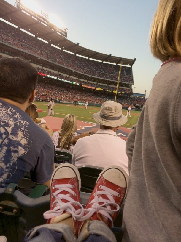red shoes at game