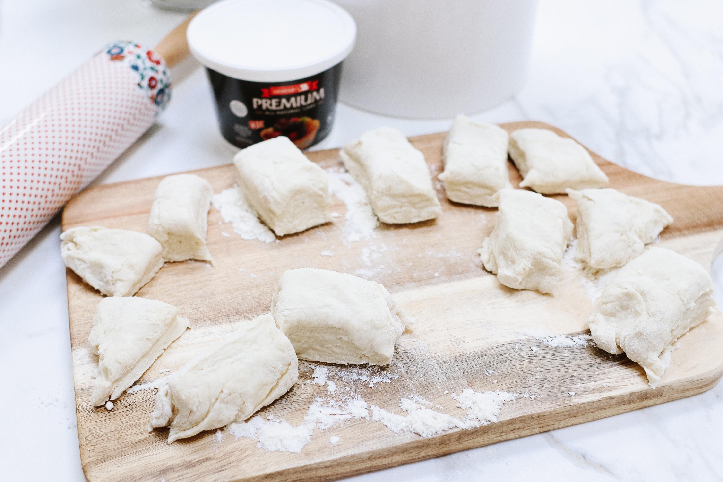cut dough for tortillas